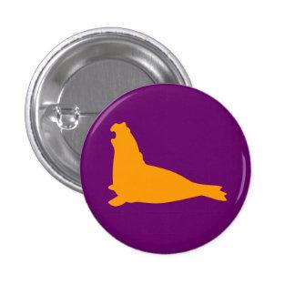 Púrpura del oro del botón del sello de elefante pin redondo de 1 pulgada