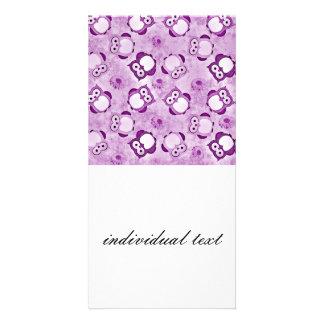Púrpura del papel pintado de los búhos tarjetas fotograficas personalizadas