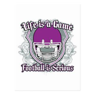 Púrpura del partido de fútbol tarjeta postal