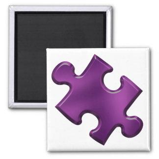 Púrpura del pedazo del rompecabezas del autismo imán cuadrado