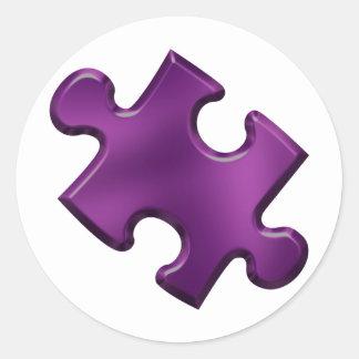 Púrpura del pedazo del rompecabezas del autismo pegatina redonda
