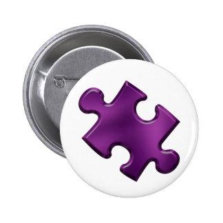 Púrpura del pedazo del rompecabezas del autismo pin redondo de 2 pulgadas