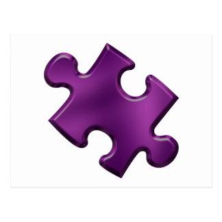 Púrpura del pedazo del rompecabezas del autismo postales
