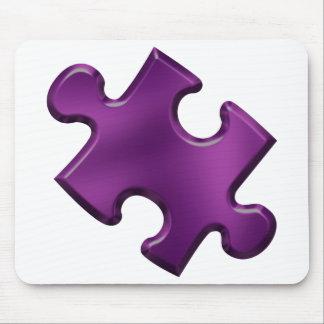 Púrpura del pedazo del rompecabezas del autismo tapete de ratón