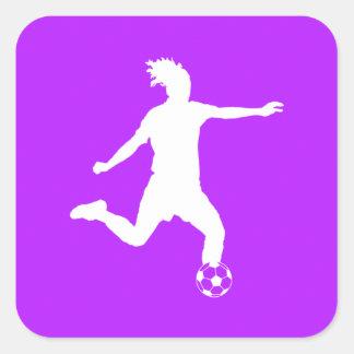 Púrpura del pegatina de la silueta del fútbol
