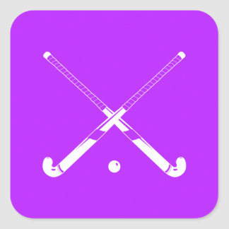 Púrpura del pegatina de la silueta del hockey