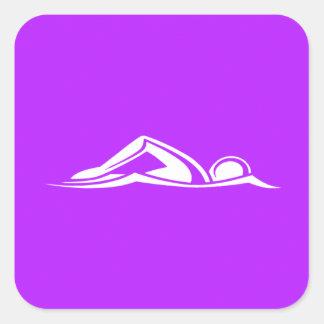Púrpura del pegatina del logotipo de la nadada