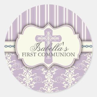Púrpura del pegatina el | de la comunión del damas