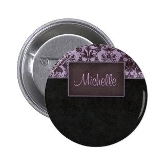 Púrpura del perno del botón de la etiqueta del nom pin redondo de 2 pulgadas