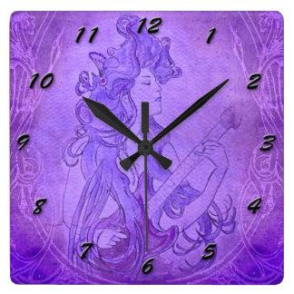 Púrpura del reloj del vintage del chica de la