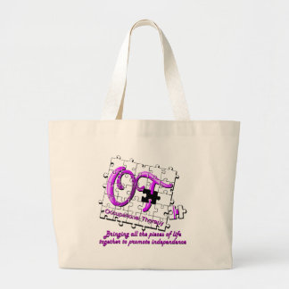 púrpura del rompecabezas del ot bolsa tela grande