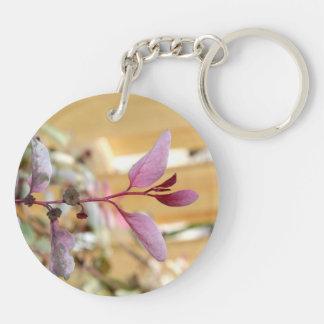 púrpura del rosa de la planta del moutain de la llavero redondo acrílico a doble cara