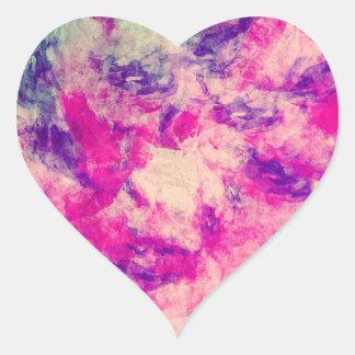 Púrpura del rosa del extracto del modelo de la pegatina en forma de corazón