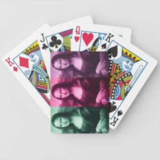 Púrpura del rosa del verde del estampado de barajas de cartas