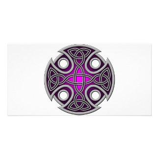 Púrpura del St. Brynach y gris cruzados Tarjeta Fotografica Personalizada