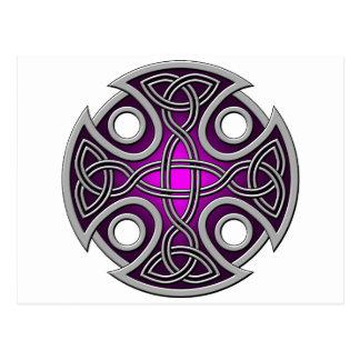 Púrpura del St. Brynach y gris cruzados Postales