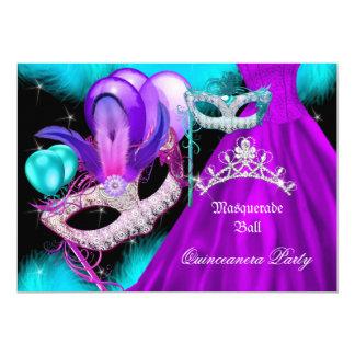 """Púrpura del trullo del fiesta de Quinceanera 15 de Invitación 5"""" X 7"""""""