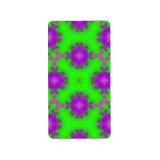 púrpura del verde del modelo de la llama etiqueta de dirección