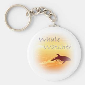 Púrpura del vigilante de la ballena llavero redondo tipo pin