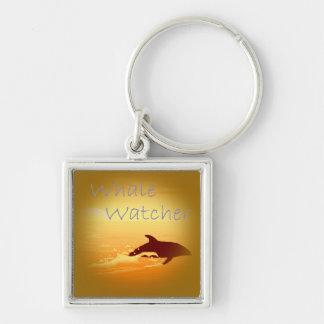 Púrpura del vigilante de la ballena llavero cuadrado plateado