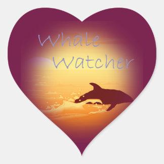Púrpura del vigilante de la ballena pegatinas de corazon
