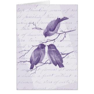 Púrpura del vintage de tres poca pájaros del tarjeta pequeña