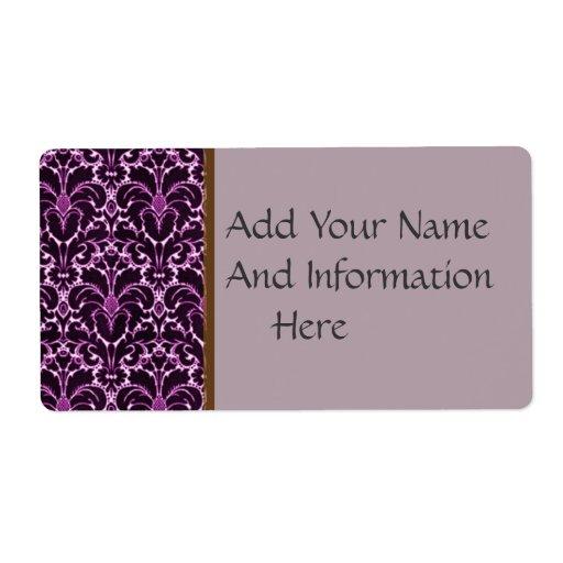 Púrpura del vintage etiquetas de envío