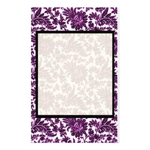 Púrpura del vintage papelería personalizada