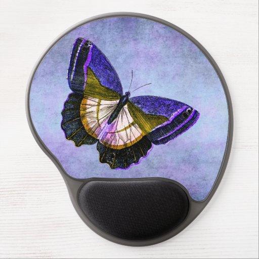 Púrpura del vintage y ejemplo de la mariposa del o alfombrillas de raton con gel