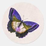 Púrpura del vintage y ejemplo de la mariposa del o etiqueta redonda