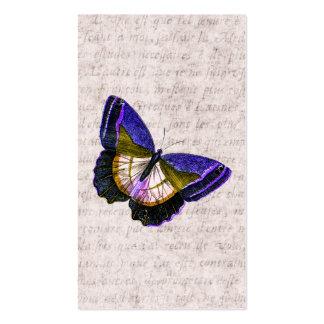 Púrpura del vintage y ejemplo de la mariposa del o tarjetas de visita