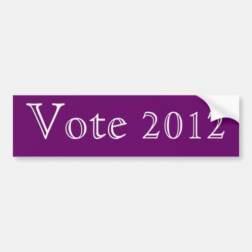 Púrpura del voto 2012 etiqueta de parachoque