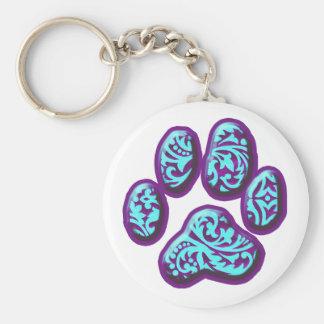 Púrpura e impresión del perrito de Paisley de la a Llavero Redondo Tipo Pin
