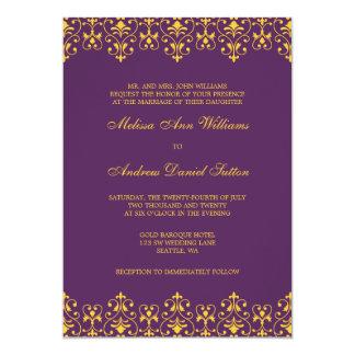 Púrpura e invitación barroca del boda del vintage
