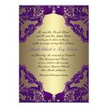 Púrpura e invitación del boda del oro
