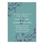 Púrpura e invitación floral del boda del remolino invitación 12,7 x 17,8 cm