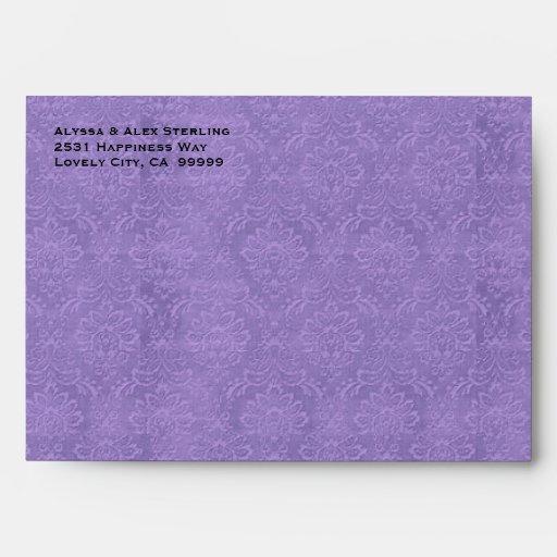 Púrpura e invitación texturizada negro G701 del Sobre
