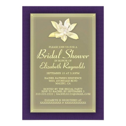 Púrpura e invitaciones nupciales de la ducha del o invitación personalizada