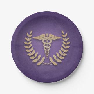 Púrpura+El símbolo médico del caduceo del oro Plato De Papel De 7 Pulgadas
