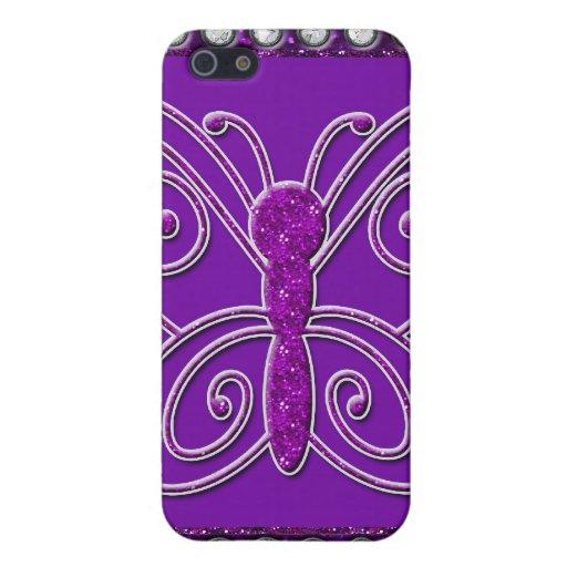 Púrpura elegante de Bling de la mariposa iPhone 5 Funda