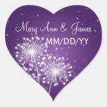 Púrpura elegante de la chispa del verano de la fec calcomanías corazones