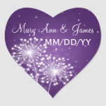 Púrpura elegante de la chispa del verano de la calcomanía de corazón personalizadas