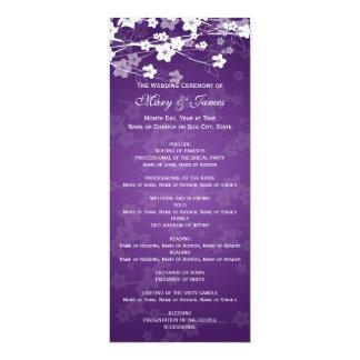 """Púrpura elegante de la flor de cerezo del programa invitación 4"""" x 9.25"""""""
