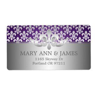 Púrpura elegante de la flor de lis de la dirección etiqueta de envío