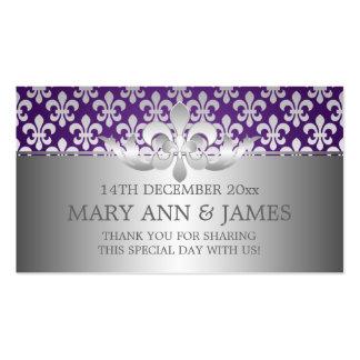 Púrpura elegante de la flor de lis de la etiqueta  tarjeta de visita