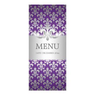Púrpura elegante de la flor de lis del menú del bo invitaciones personalizada