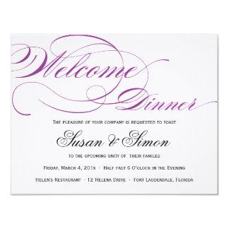Púrpura elegante de la invitación de la cena de la