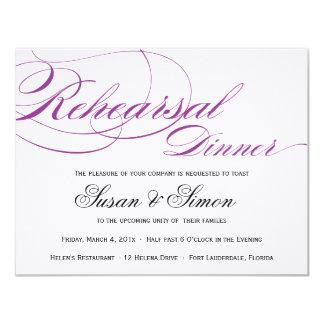 Púrpura elegante de la invitación de la cena del