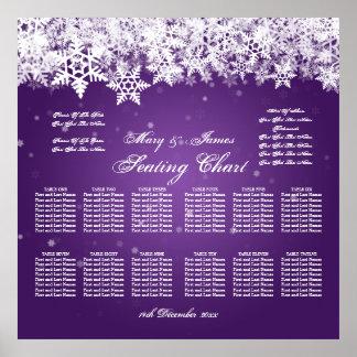 Púrpura elegante de la nieve del invierno de la póster