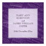 Púrpura elegante de la partitura del boda invitación 13,3 cm x 13,3cm